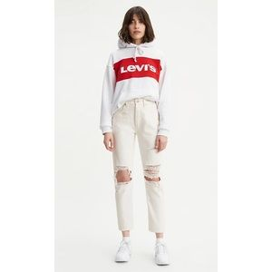 Levi's 501 Original Cropped Straight Leg Distressed Jeans in White Size 29